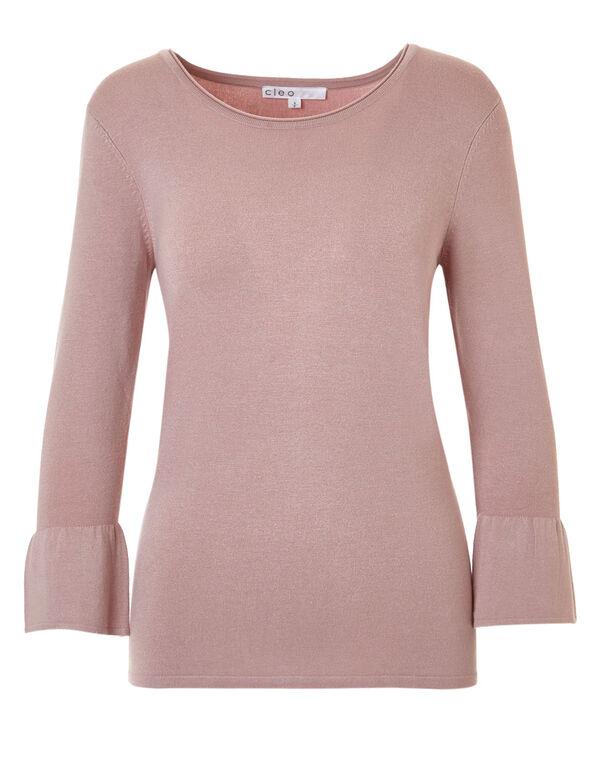 Rose Pink Bell Sleeve Sweater, Rose Pink, hi-res