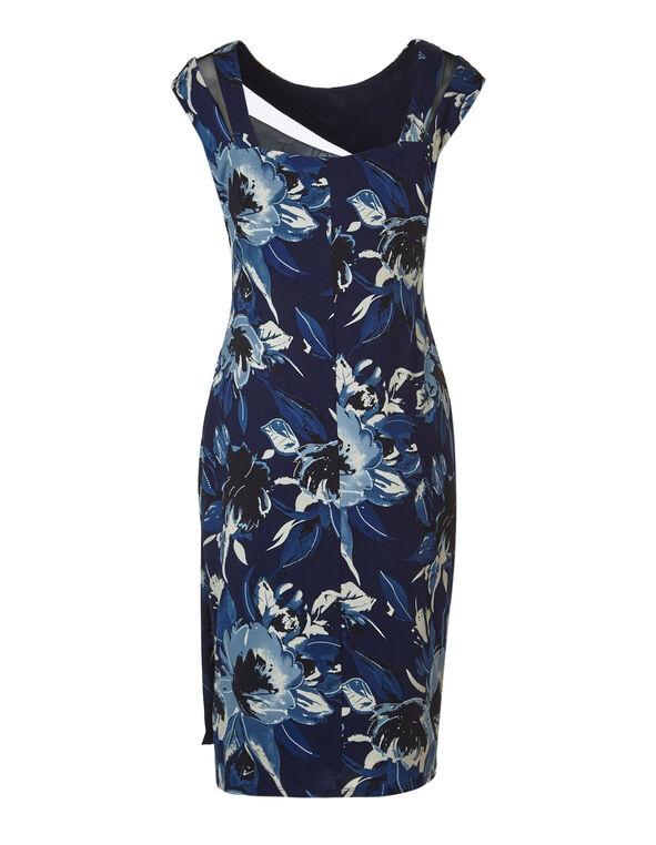 Navy Floral Mesh Dress, Navy, hi-res