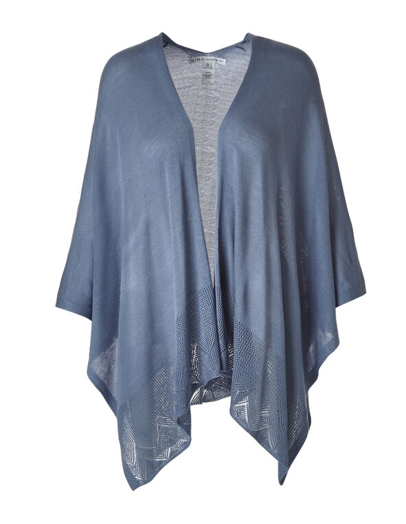 Chambray Open Stitch Kimono Sweater, Chambray, hi-res