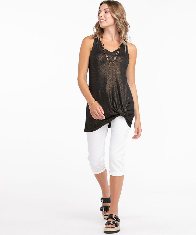 Shimmery Knotted Tunic Top, Black Shimmer