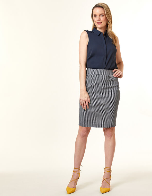 Navy Geo Pencil Skirt, Navy, hi-res