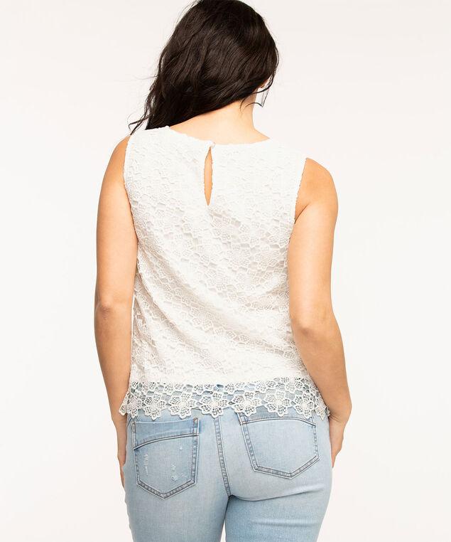 Sleeveless Lace Overlay Blouse, White