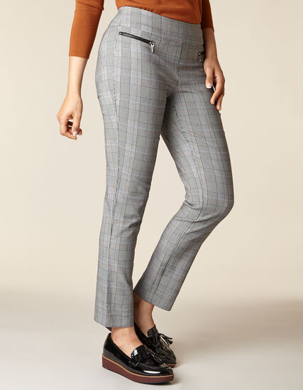 Plaid Zip Pull On Slim Pant, Black/White, hi-res