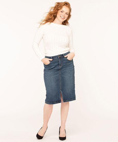 Mid Wash Jean Skirt, Blue, hi-res