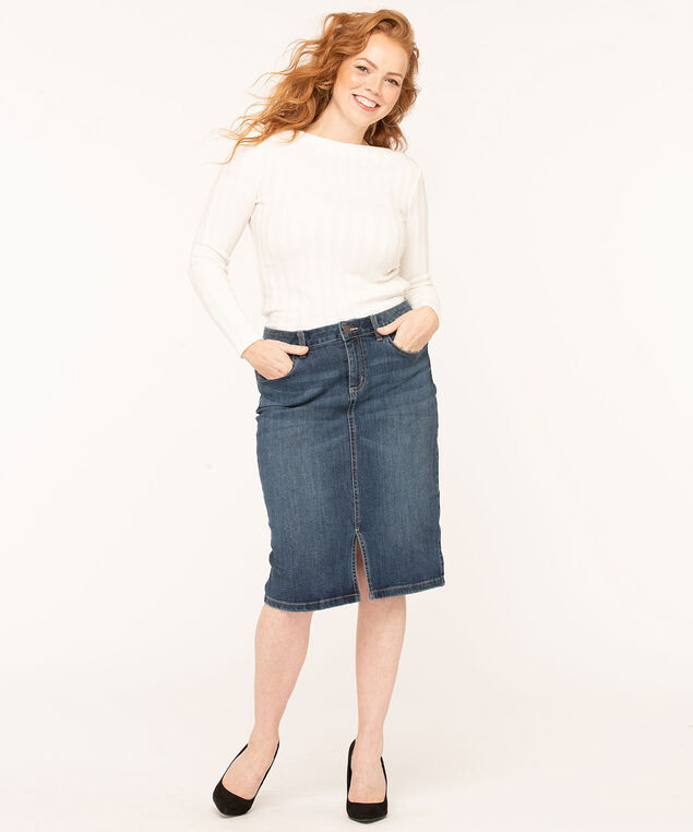 Mid Wash Jean Skirt, Blue