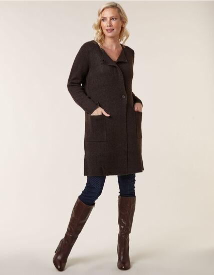 Dark Brown Sweater Coat, Dark Brown, hi-res