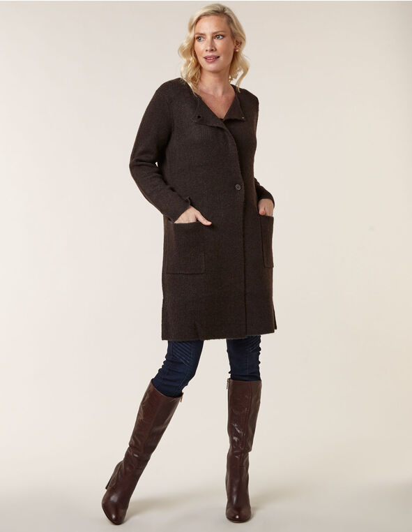 Dark Brown Sweater Coat, Dark Brown, hi-res