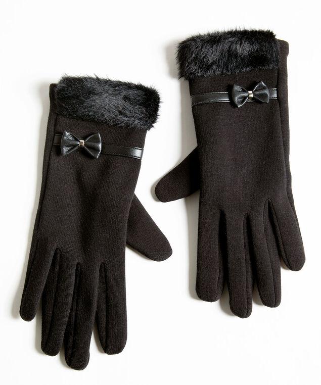 Black Bow Trim Gloves, Black