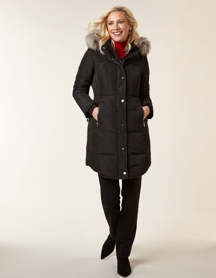 Black Curved Hem Down Coat, Black, hi-res