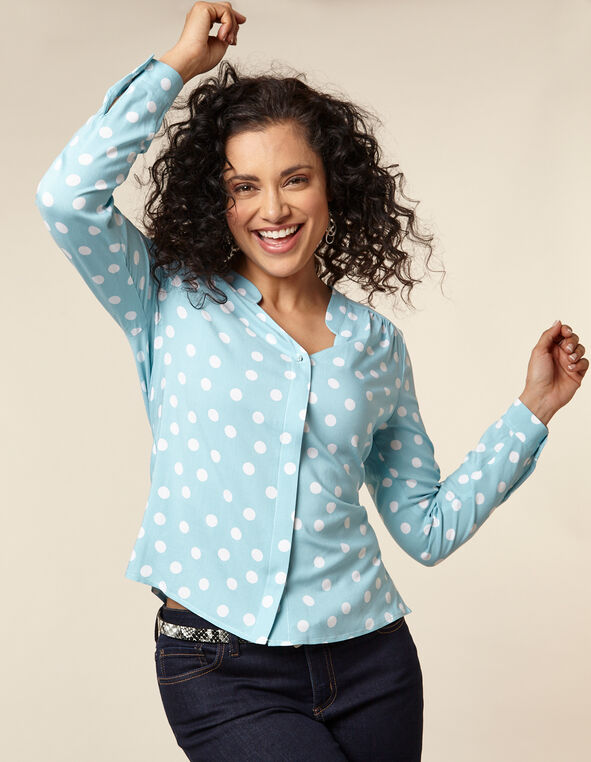 Light Blue Polka Dot Button Front Blouse, Blue/Light Blue, hi-res
