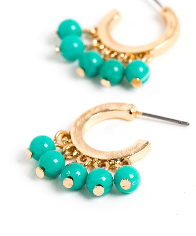 Hanging Turquoise Bead Hoop Earring, Turquoise