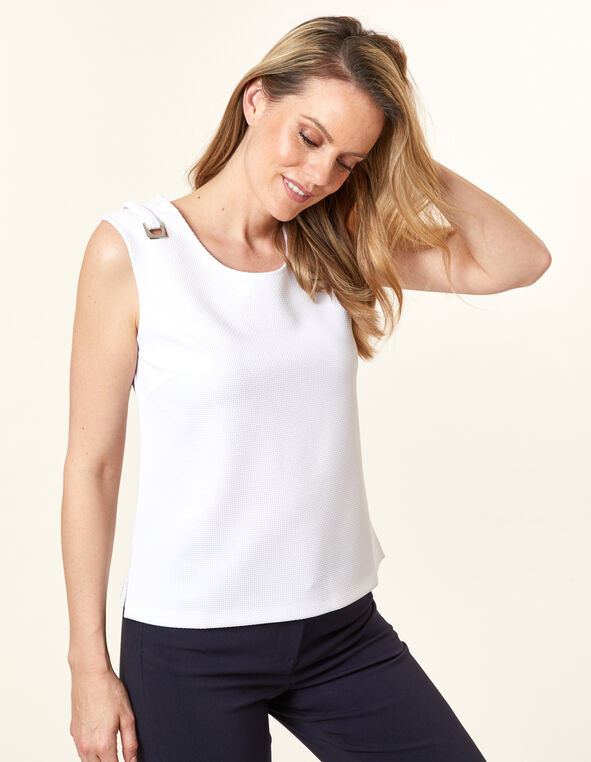 Waffle Knit Top, White, hi-res