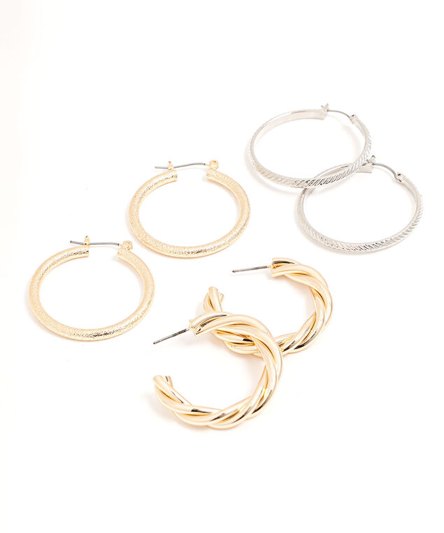 Textured Hoop Earring 3-Pack, Gold/Silver