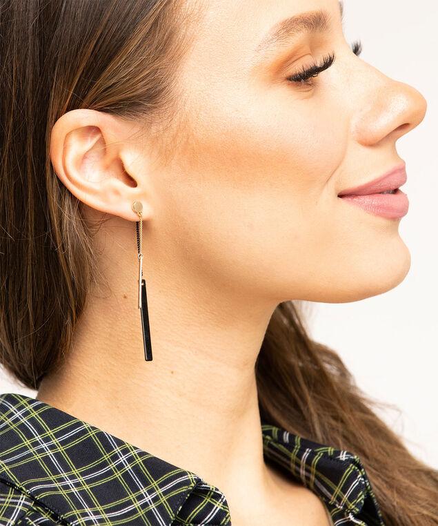 Linear Bar Front/Back Earring, Gold/Black