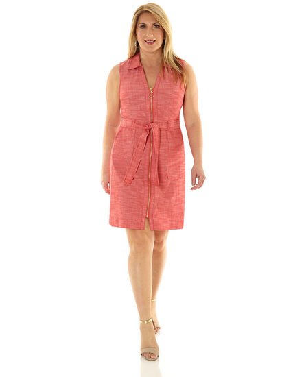 Red Zipper Front Sheath Dress, Red, hi-res