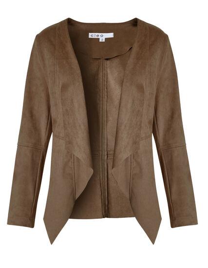 Brown Suede Open Front Jacket, Brown, hi-res
