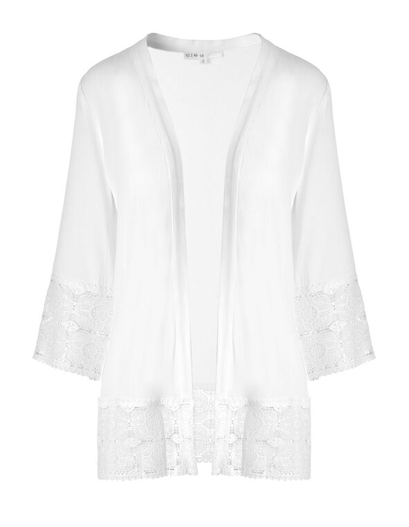 White Lace Trim Cardigan, White, hi-res