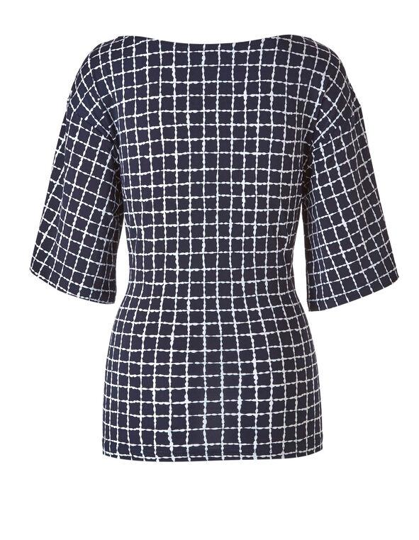 Navy Checkered Tie Waist Top, Navy, hi-res
