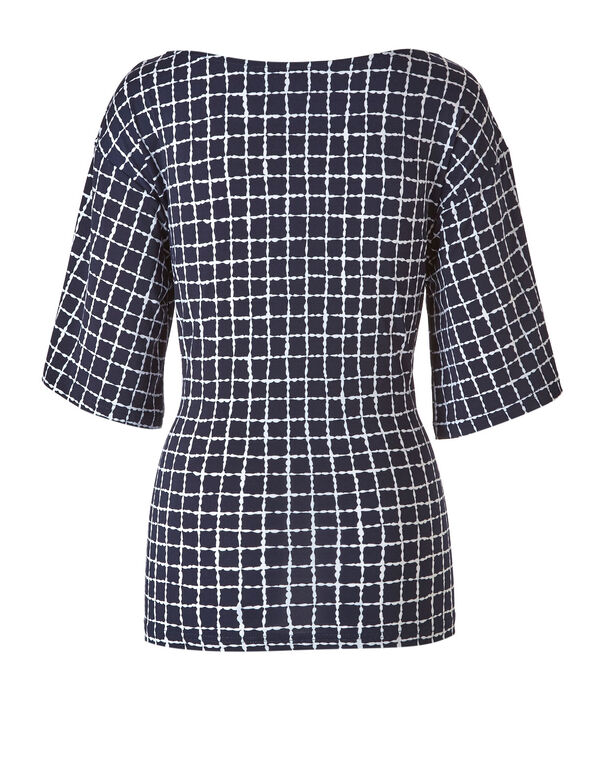 Navy Checkered Tie Waist Top, Navy, hi-res