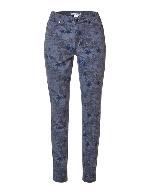 Blue Floral Cotton Slim Leg Jean, Blue, hi-res