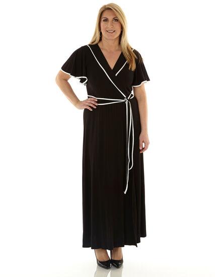 Black Wide Sleeve Maxi Dress, Black, hi-res