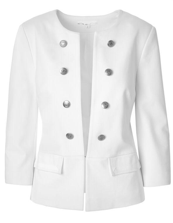 White Peplum Military Blazer, White, hi-res