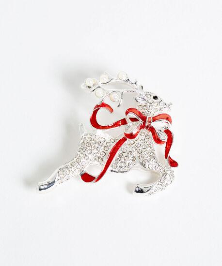 Crystal Reindeer Pin, Silver/Red/Pearl, hi-res