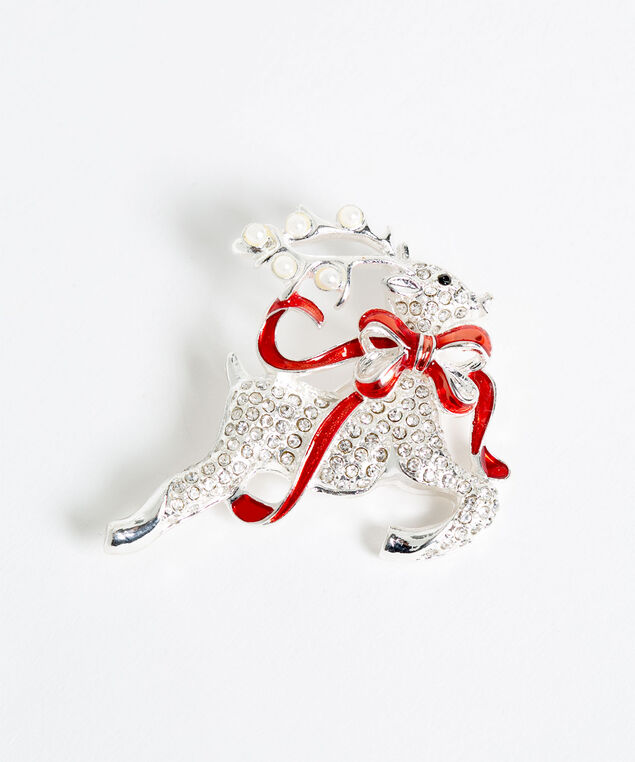 Crystal Reindeer Pin, Silver/Red/Pearl, hi-res