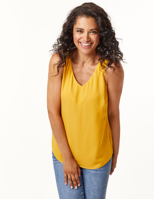 Sleeveless Woven Blouse, Gold, hi-res