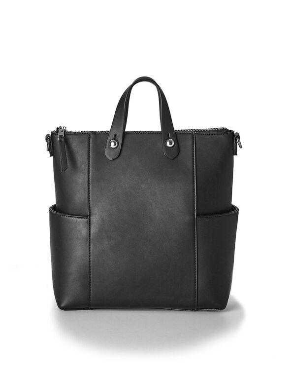 Black Convertible Backpack Tote, Black, hi-res