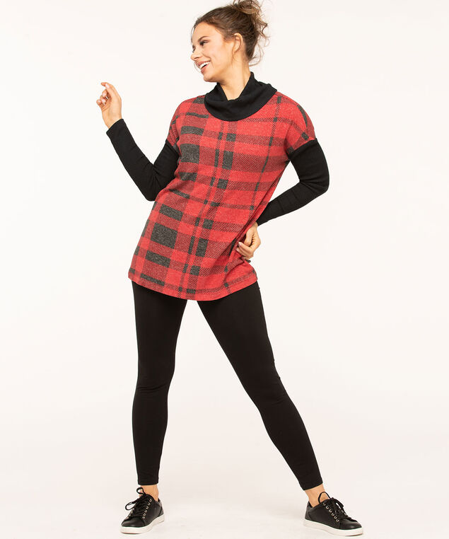Red Plaid Hacchi Turtleneck Top, Red/Black, hi-res