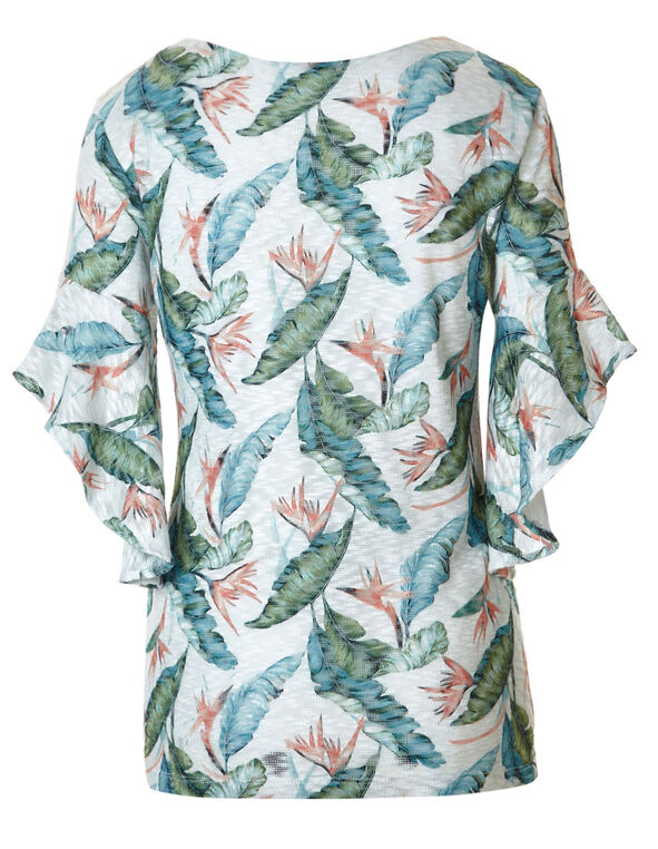 Palm Printed Ruffle Top, White Print, hi-res