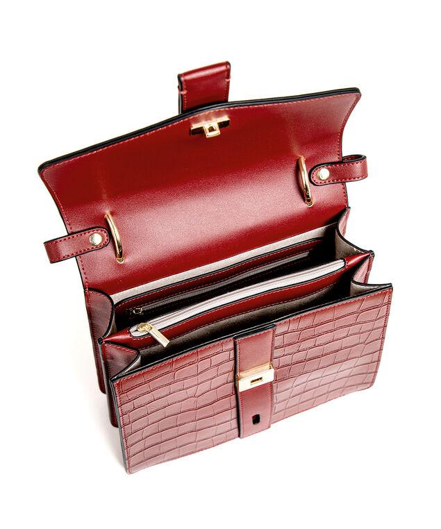 Red Croco Gold Lock Handbag, Red/Gold Metal