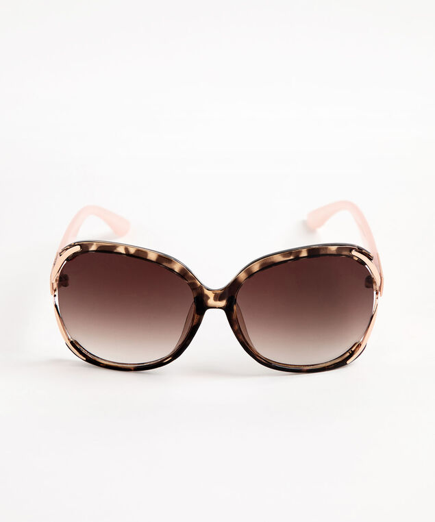 Large Tortoise Shell Sunglasses, Pink/Brown/Rose Gold