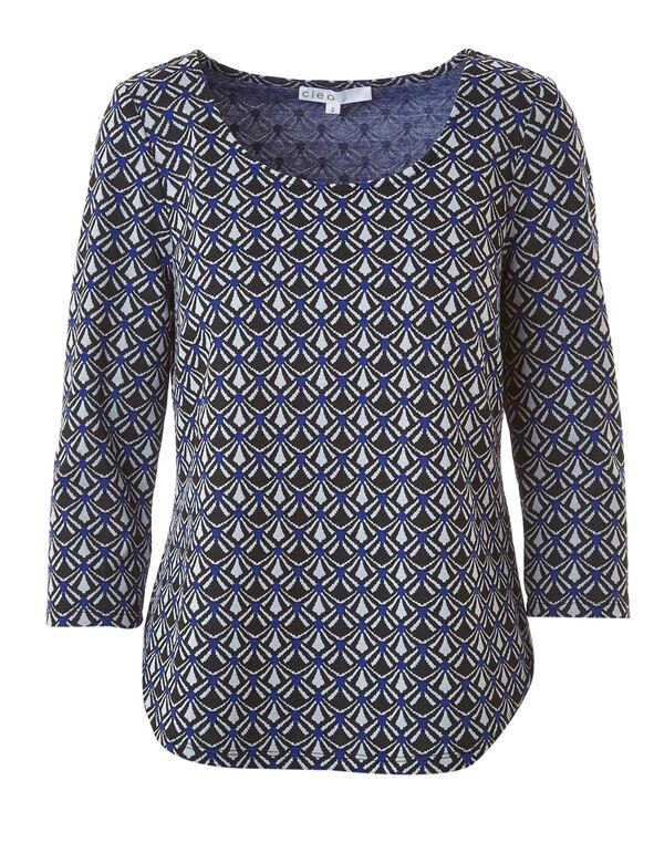 Blue Jacquard Knit Top, Blue, hi-res
