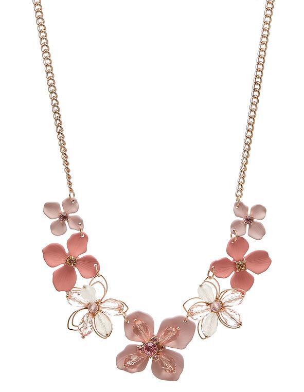 Rose Gold Beaded Flower Necklace, Pink/Rose Gold, hi-res