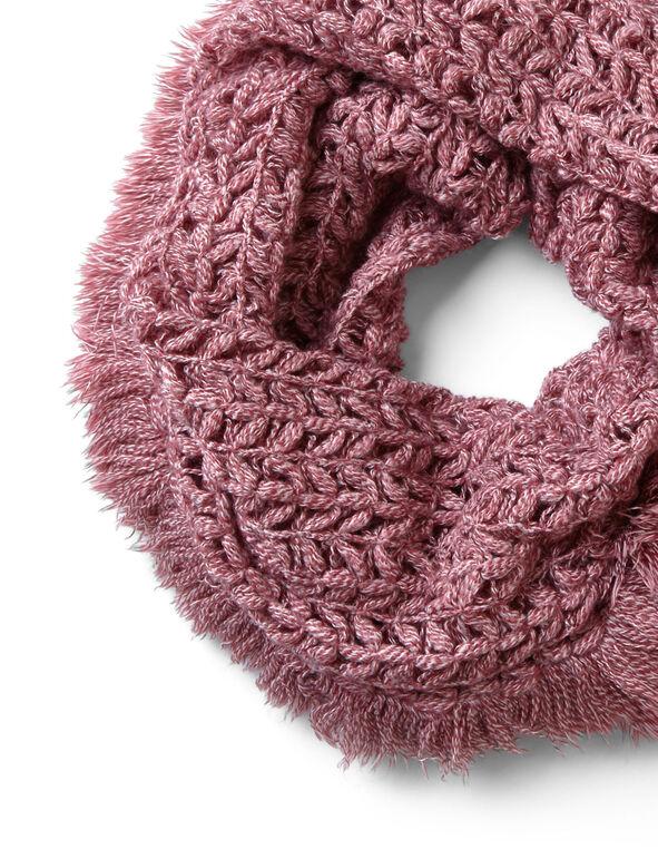 Rose Fringe Open Stitch Loop Scarf, Rose, hi-res