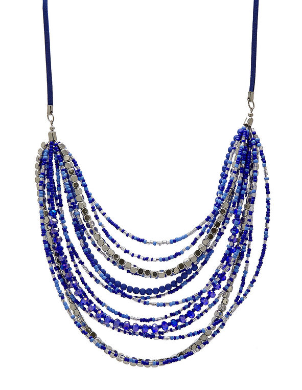 Blue Bead Short Statement Necklace, Blue, hi-res