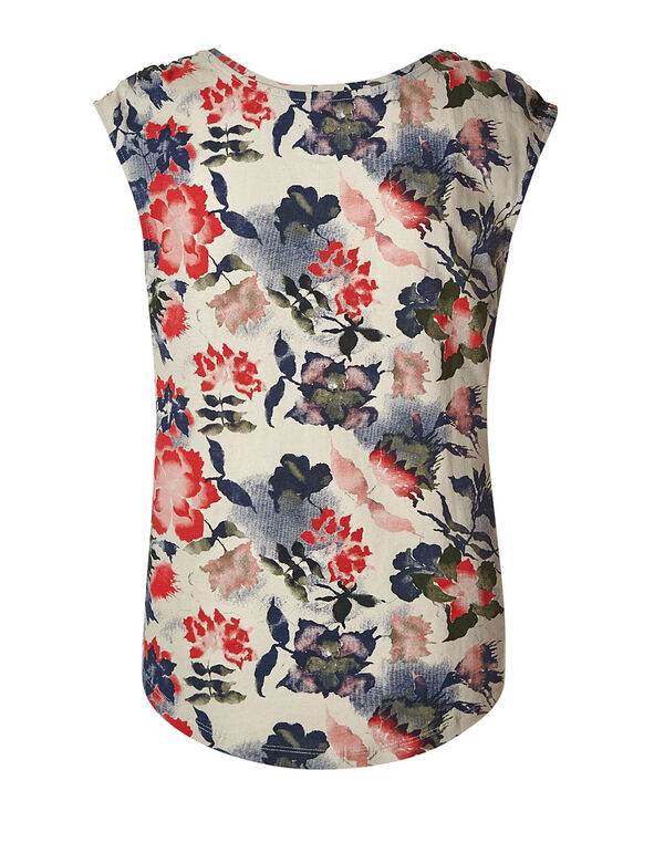 Stone Floral Ruched Cotton Tee, Stone, hi-res