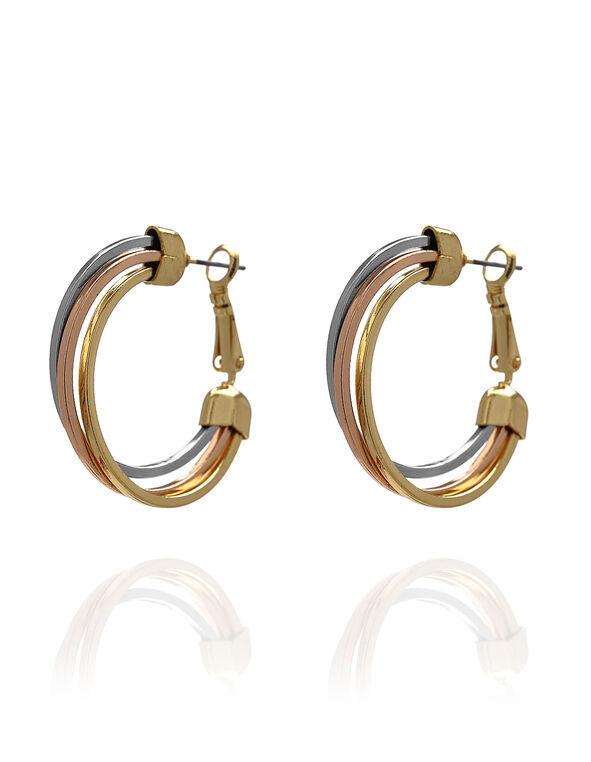 Tri Metal Hoop Earring, Gold/Rose Gold/Silver, hi-res