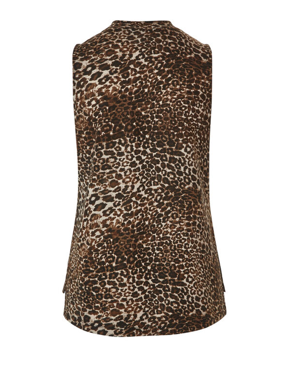 Animal Printed Hacchi Top, Brown, hi-res