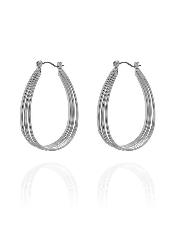 Silver Oval Hoop Earring, Silver, hi-res