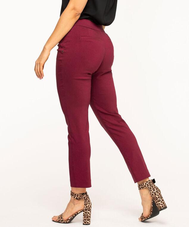 Burgundy Pull On Slim Leg Pant, Burgundy