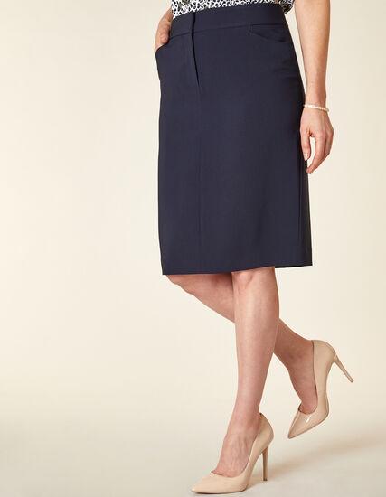 Navy Zip Front Pencil Skirt, Navy, hi-res