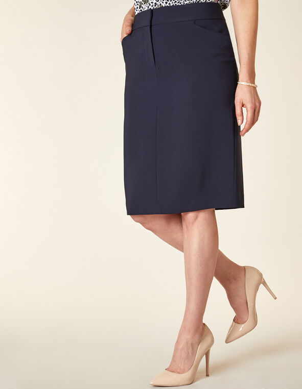 Navy Zip Front Pencil Skirt, Navy