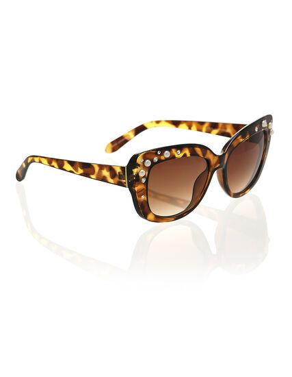 Pearl & Rhinestone Sunglasses, Brown, hi-res