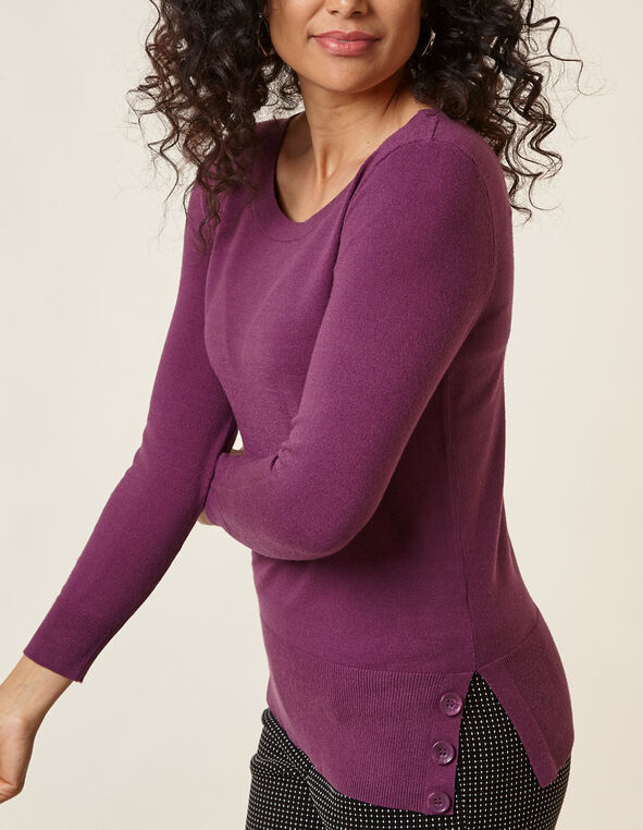 Berry Button Detail Sweater, Plum, hi-res
