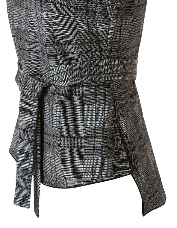 Grey Tartan Print Top, Grey, hi-res