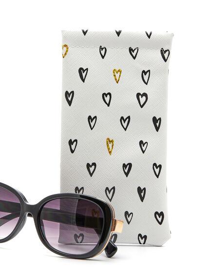 Heart Sunglasses Case, White/Black, hi-res