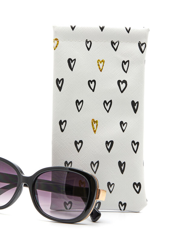 Heart Sunglasses Case, White/Black, hi-res